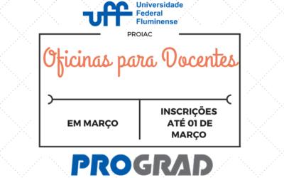 PROIAC abre inscrições para três oficinas para docentes no mês de março